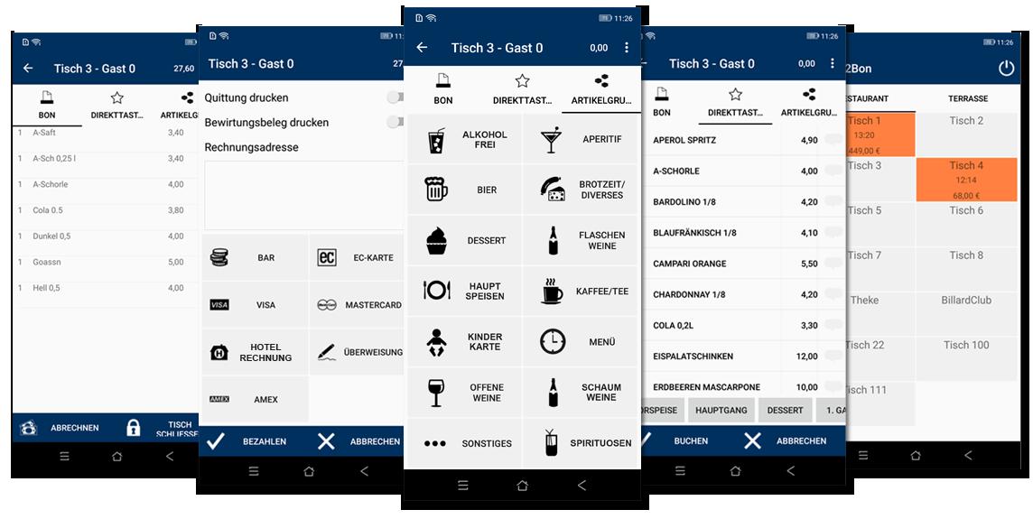 Collage Screenshot Easy2Bon mobile Kassen Kassensysteme Registrierkassensysteme mobile Version