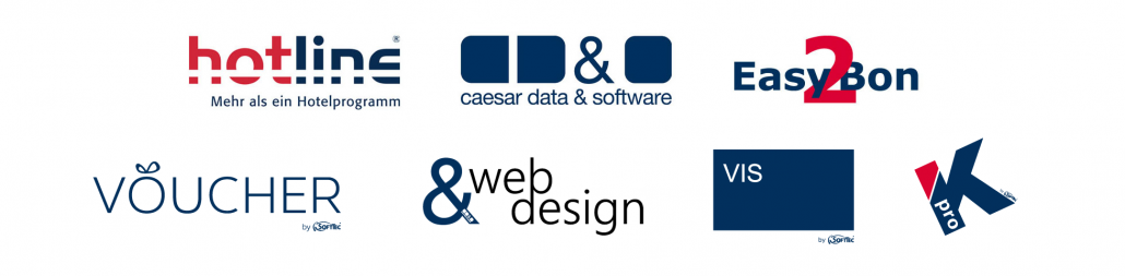 Marken der SoftTec GmbH hotline Hotelsoftware caesar data & software Direktbuchbarkeit Easy2Bon Kassensysteme VOUCHER Gutschein Tool Web Design für Hotel VIS-mobile Außendienst-Steuerung Kipptester